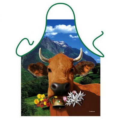 Lustige Schürze - Glückliche italienische Kuh mit Blumen - Kochschürze - Urkunde Bild 2
