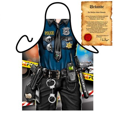 Sexy Schürze - Police Man - Verkleidung für Karneval und Mottopartys - Urkunde Bild 4
