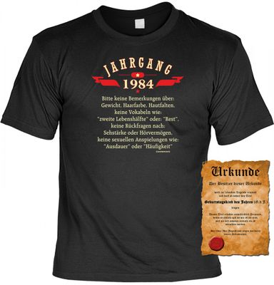Rahmenlos T-Shirt Urkunde Geschenk-Set Jahrgang 1984 Bild 2