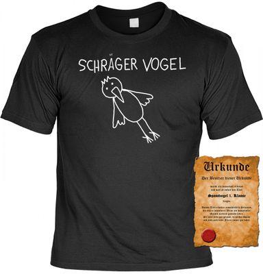 Lustiges T-Shirt - Schräger Vogel - Funshirt mit Spruch als Geschenk für Spaßvögel mit Humor - Jetzt mit lustiger Urkunde ! Bild 2