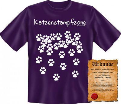 Lustiges T-Shirt - Katzenstampfzone - Pfotenabdrücke Katze - Funshirt mit Spruch als Geschenk für Katzenbesitzer - Jetzt mit lustiger Urkunde ! Bild 4
