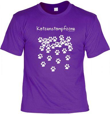 Lustiges T-Shirt - Katzenstampfzone - Pfotenabdrücke Katze - Funshirt mit Spruch als Geschenk für Katzenbesitzer - Jetzt mit lustiger Urkunde !