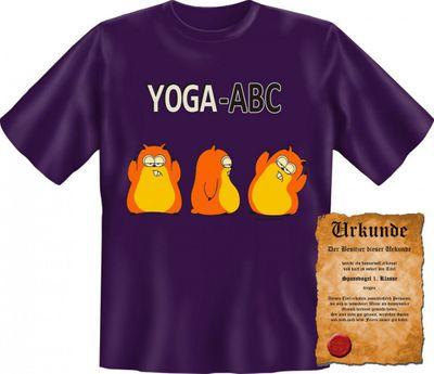 Lustiges T-Shirt - Yoga ABC - Funshirt mit Spruch als Geschenk für Sportler mit Humor - Jetzt mit lustiger Urkunde ! Bild 4