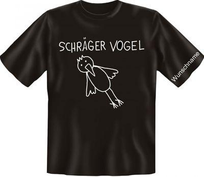 Lustiges Spass T-Shirt mit Namen: Schräger Vogel - Funshirt mit Wunschnamen für Spaßvögel mit Humor Bild 2