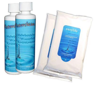 Pflegemittel für Wasserbetten. Conditioner Waterclean 2 x 250ml und Vinylreinigungstücher Easylife 2 x 15 Stück Wasserbett Pflegeset 001