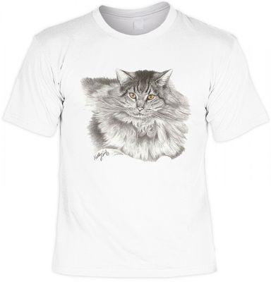T-Shirt - Langhaarige Perser Katze - auch als Geschenk für Katzen Fans mit Humor