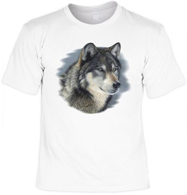 T-Shirt - Einsamer Wolf - USA Wildlife Motiv - Shirt weiss