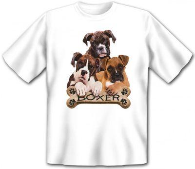 T-Shirt - Boxer - drei süsse Hunde - cooles Geschenk für Hunde Fans - weiss Bild 2