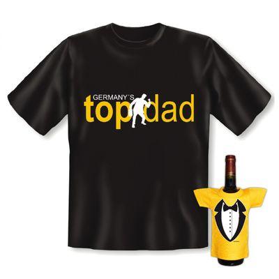 T-Shirt Set Vatertag / Geburtstag - Germanys Topdad - inkl. lustigem Minishirt als Flaschendeko gratis Bild 4