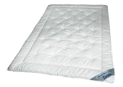 Sommer Steppbett 155 x 220 - 100% naturbelassene Tussah Seide (500g) - Extra leichte Waldenburger Bettdecke mit Baumwoll Bezug 001