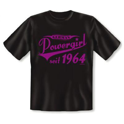 T-Shirt als lustiges Geschenk zum Geburtstag - German Powergirl 1964 - Geburtstagsgeschenk mit Jahrgang - Braun Bild 2