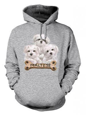 Kapuzenpullover Hoodie mit Motiv Malteser Welpen 002