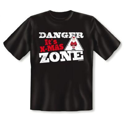 """Lustiges Fun T-Shirt mit Aufdruck """"Danger it s X-Mas Zone"""" passend für Advent und Weihnachtszeit Bild 2"""