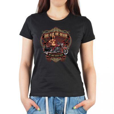 Damen T-Shirt mit Vintage Biker Aufdruck - Pin up Ass Gas - Motorrad Ladyshirt als Geschenk oder geiles Outfit – Schwarz