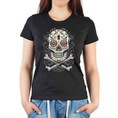 Damen T-Shirt mit Aufdruck im mexikanischen Stil - Bunter floraler Totenkopf - Bedrucktes Ladyshirt als Geschenk