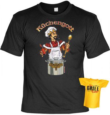 lustiges T-Shirt mit dem Motiv Küchengott im Geschenk Set mit Mini T-Shirt