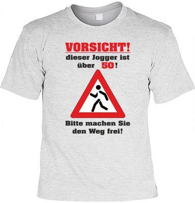 Fun T-Shirt mit dem Motiv - Vorsichter Jogger ist über 50 - als Geschenk zum Geburtstag im Set mit Mini T-Shirt Bild 2