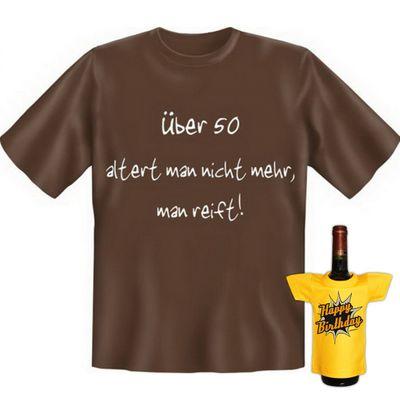 Fun T-Shirt mit dem Motiv - Über 50 altert man nicht mehr - als Geschenk zum Geburtstag im Set mit Mini T-Shirt Bild 4