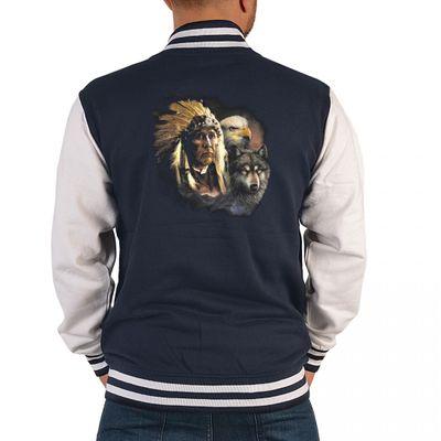 USA Biker College-Jacke - Indianer mit Adler und Wolf - Geschenk-Idee mit Country & Western Motiv für Herren