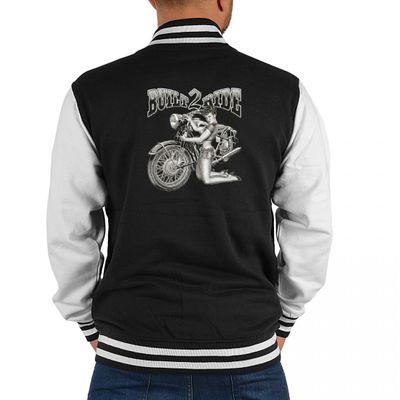 USA Biker College-Jacke - Built 2 Ride mit Bike und heißem Girlie - Geschenk-Idee mit modernem Motorrad Motiv für Herren
