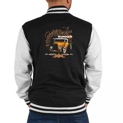 USA Biker College-Jacke - Moonshine mit goldenem Oldtimer - Geschenk-Idee mit Hot Rod Motiv für Herren