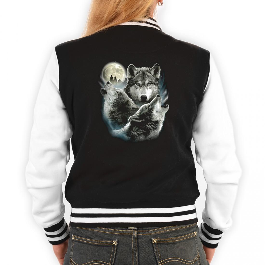 Coole Biker College Jacke Für Damen 3 Wölfe Heulen Bei Vollmond Originelles Outfit Oder Geschenk Idee Mit Wolf Motiv