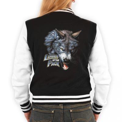 Coole Biker College-Jacke für Damen - Leader of the Pack Wölfe - Originelles Outfit oder Geschenk-Idee mit Wolf Motiv