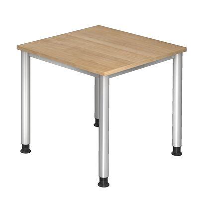 Bürotisch DR-Büro 80 x 80 cm - Hochwertiger Schreibtisch höheneinstellbar von 68 bis 76 cm - 7 Farben zur Auswahl - Gestell silber – Bild 2