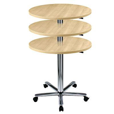 Säulenhubtisch rund 80 cm - Meetingtisch Bürotisch stufenlos höheneinstellbar von 72 bis 114 cm - 7 Farben zur Auswahl - Gestell chrom mit 5 Rollen / Gleitern – Bild 2