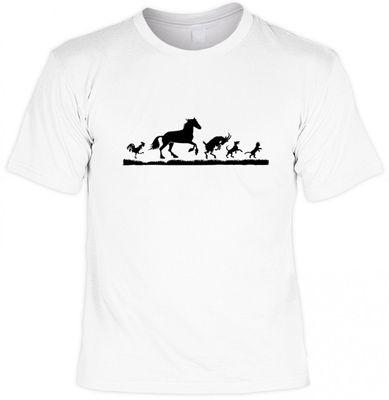 Lustiges Tiere T-Shirt weiss - Tiermotive Hahn Pferd Ziegenbock Hund Katze - witzige Geschenk Idee