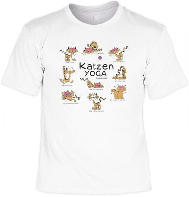 Lustiges T-Shirt Set mit Katze - Katzen Yoga Übungen - witziges Geschenk Funshirt und Minishirt Bild 2