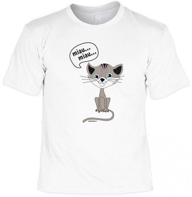 Lustiges Tierliebhaber Katzen Fun T-Shirt weiss - miau schnurrendes Kätzchen - Geschenk Idee Fete Party