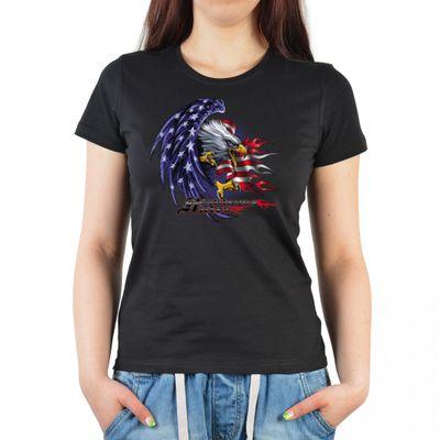 Damen T-Shirt Funshirt - USA Adler - witziges Motivshirt als Geschenk für Amerikaner und USA Fans 003