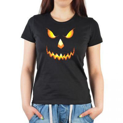 Damen T-Shirt Funshirt - Halloween Gesicht - witziges Motivshirt als Geschenk für Spuk Fans Bild 3