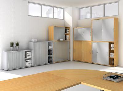 Schrankwandsystem Büroeinrichtung Hammerbacher Basic - Schrank in fünf Ordnerhöhen - Maße 80 x 33 x 188 cm - in 5 Farben - individuell erweiterbar – Bild 8