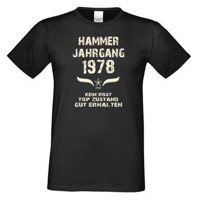 T-Shirt als lustiges Geschenk zum Geburtstag - Hammer Jahrgang 1978 - Fun-Shirt als Geburtstagsgeschenk - Schwarz