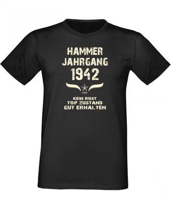 T-Shirt als lustiges Geschenk zum Geburtstag - Hammer Jahrgang 1944 - Fun-Shirt als Geburtstagsgeschenk - Schwarz