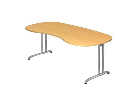 Schreibtisch DR-Büro - 200 x 100 cm - Bürotisch in 7 Farbvarianten lieferbar - Arbeitshöhe 72 cm - Gestell silber - Nierenform - horizontale Kabelwanne enthalten – Bild 4