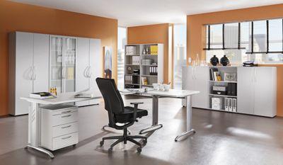 Schreibtisch DR-Büro - 200 x 100 cm - Bürotsich in 7 Farbvarianten lieferbar - Arbeitshöhe 72 cm - Gestell in silber - horizontale Kabelwanne enthalten – Bild 8
