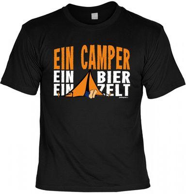 Fun-T-Shirt - Ein Camper Ein Bier Ein Zelt - witziges Spruchshirt als Geschenk für den echten Kerl