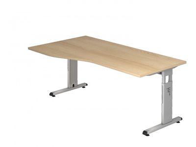 Schreibtisch Hammerbacher Serie O - 180 x 100 - 7 Farben - einstellbar 65 bis 85 cm - Gestell silber - Kabelwanne 001
