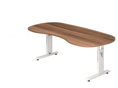 Schreibtisch DR-Büro - 200 x 100 cm - 7 Farben - höheneinstellbar 65 - 85 cm - Gestell weiß - Nierenform - horizontale Kabelwanne enthalten – Bild 6