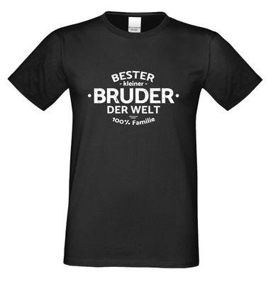 Family T-Shirt - Bester kleiner Bruder der Welt - lustiges Hemd als passendes Geschenk oder Outfit für Brüder - schwarz
