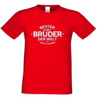 Family T-Shirt - Bester großer Bruder der Welt - bedrucktes Hemd als passendes Geschenk oder Outfit für Brüder - rot