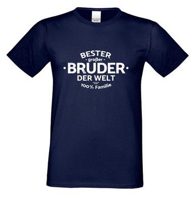 Family T-Shirt - Bester großer Bruder der Welt - bedrucktes Hemd als passendes Geschenk oder Outfit für Brüder - blau 1