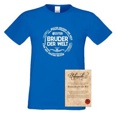 Family T-Shirt - Bester Bruder der Welt - bedrucktes Hemd als passendes Geschenk oder Outfit für Brüder - blau 2 002