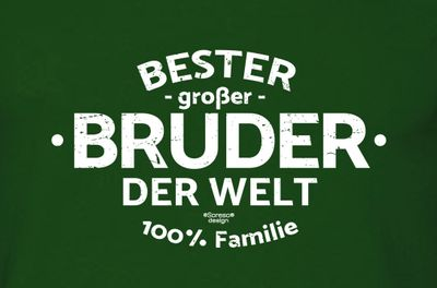 Family T-Shirt - Bester großer Bruder der Welt - bedrucktes Hemd als passendes Geschenk oder Outfit für Brüder - grün 1 003