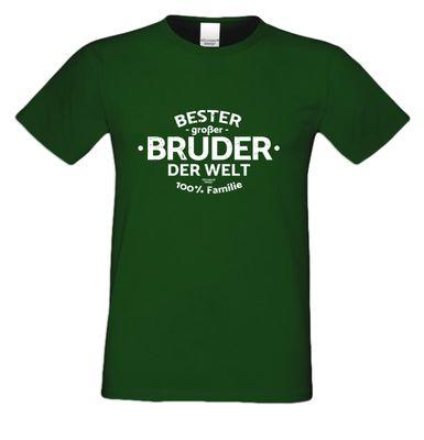 Family T-Shirt - Bester großer Bruder der Welt - bedrucktes Hemd als passendes Geschenk oder Outfit für Brüder - grün 1