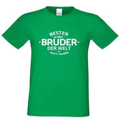 Family T-Shirt - Bester großer Bruder der Welt - bedrucktes Hemd als passendes Geschenk oder Outfit für Brüder - grün 3