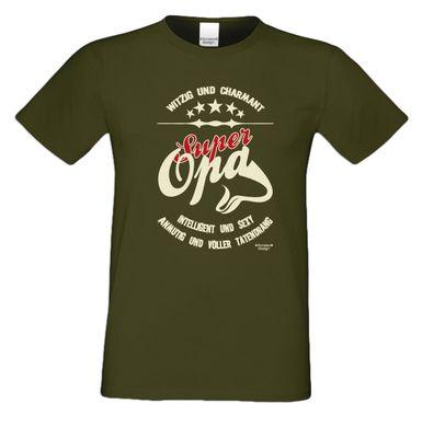 Family T-Shirt - Super Opa - lustiges bedrucktes Hemd als passendes Geschenk oder Outfit für Deinen Großvater - grün 4